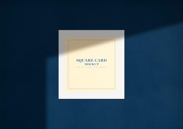 Carte carrée élégante maquette avec ombre Psd gratuit