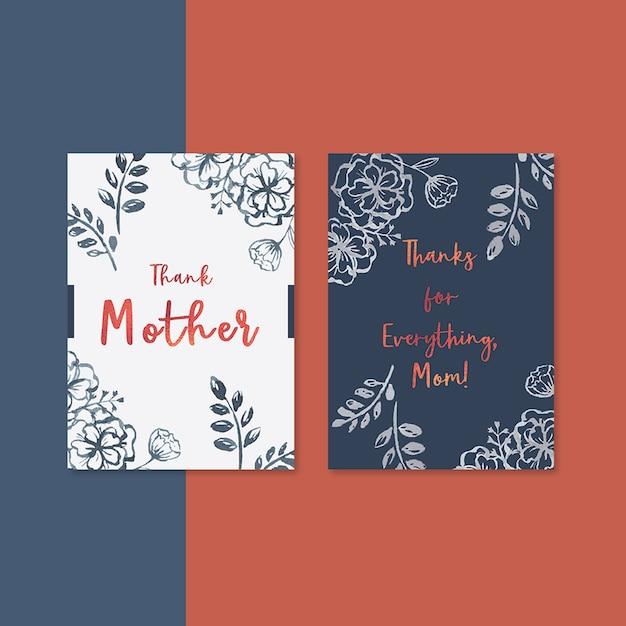Carte de fête des mères avec fleurs contrastées Psd gratuit