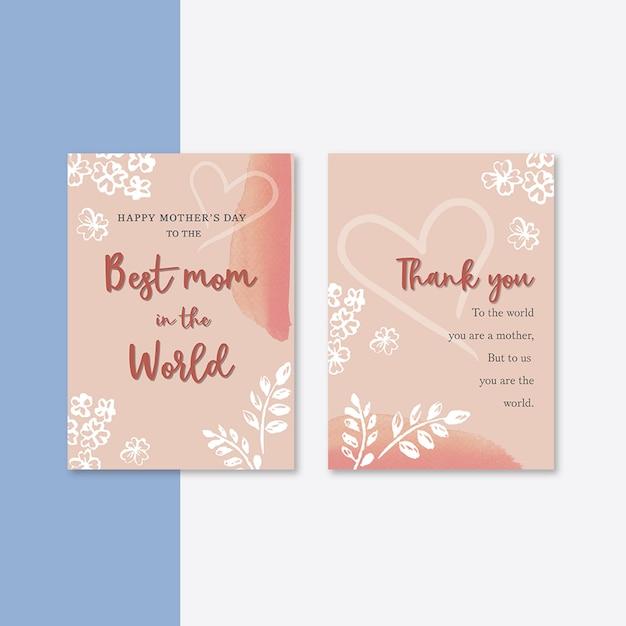Carte de fête des mères avec des fleurs élégantes Psd gratuit