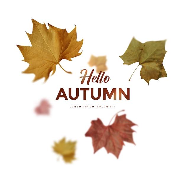 Carte de feuilles d'automne PSD Premium