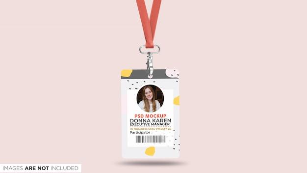 Carte d'identité pour entreprise avec lanière vue de face maquette psd PSD Premium