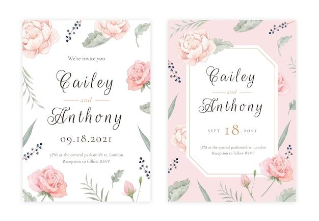 Carte d'invitation de mariage floral dessiné main PSD Premium