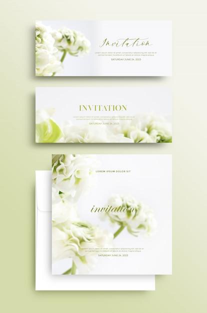 Carte D'invitation Avec Motif Floral PSD Premium