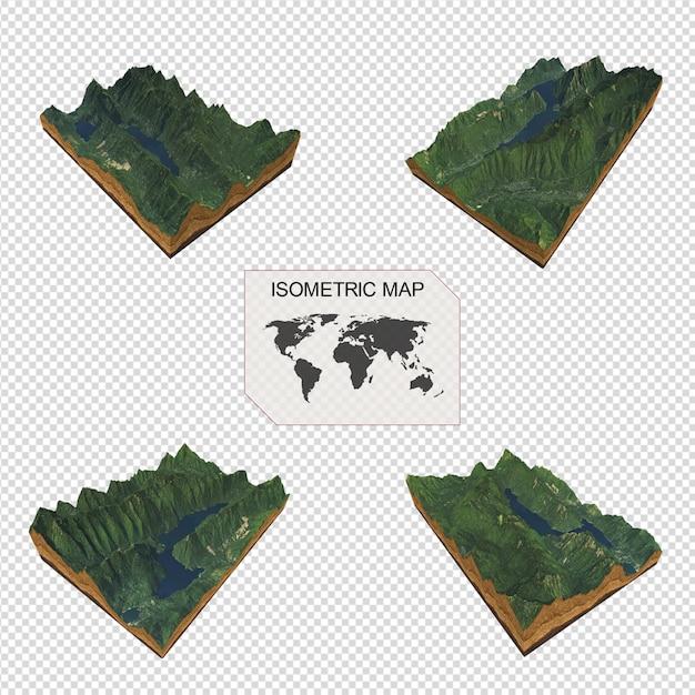 Carte Isométrique Terrain Virtuel 3d Pour Infographieportrait De Belle Femme PSD Premium