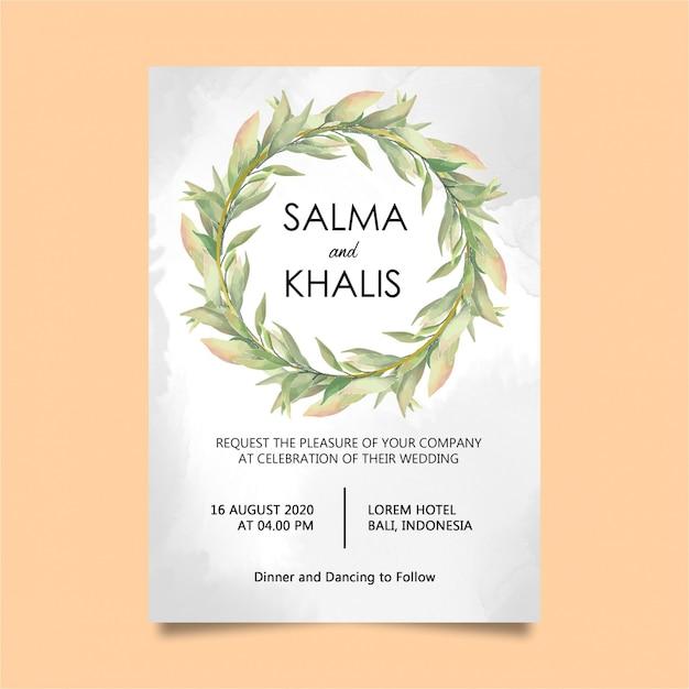 Carte de modèle invitation aquarelle feuillage élégant mariage PSD Premium