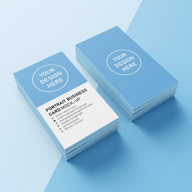 Carte de nom professionnelle prête à l'emploi premium à deux piles 90x50 mm, verticale, modèle de conception maquette, vue de haut 3/4 voir PSD Premium