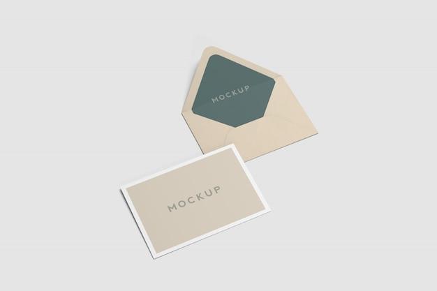 Carte postale a6 et maquette d'enveloppe PSD Premium