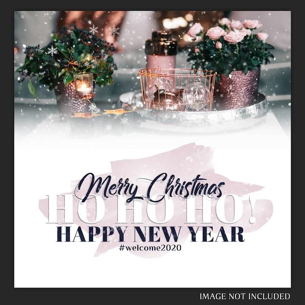 Carte Postale Instagram De Noël PSD Premium