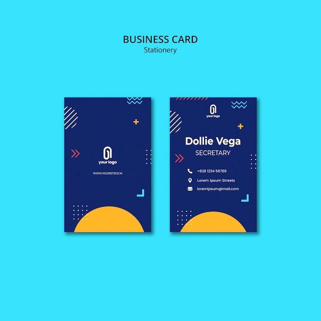 Carte De Visite Avec Design Bleu Et Memphis Psd gratuit