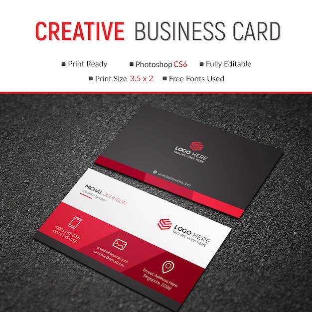 Carte de visite élégante rouge PSD Premium
