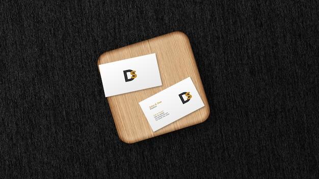 Carte De Visite Sur Maquette De Planche De Bois Isolée PSD Premium