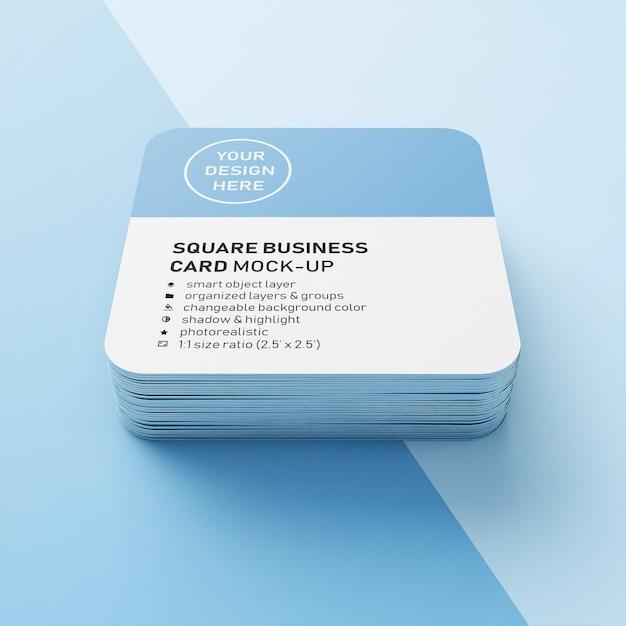 Carte de visite professionnelle empilable carrée, éditable et réaliste, éditable de 90x50 mm, avec modèle de conception de coin arrondi en face PSD Premium