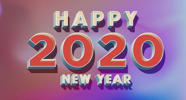 Carte De Voeux De Bonne Année 2020 Dans Un Style Rétro Des Années 80 PSD Premium