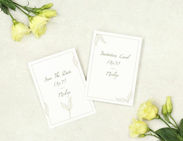 Cartes d'invitation maquette pour mariage PSD Premium