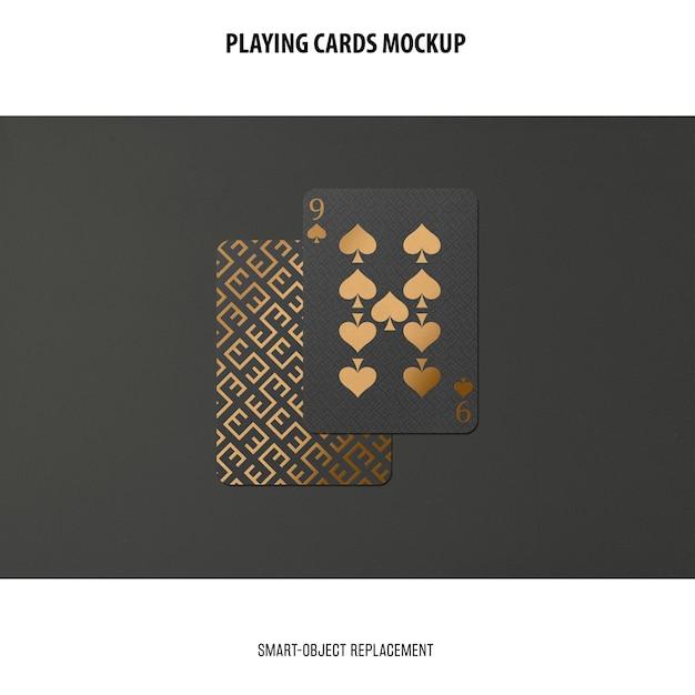 Cartes à Jouer Avec Maquette De Feuille D'or Psd gratuit