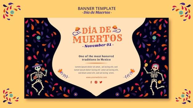 Célébrer Le Jour De La Bannière De La Culture Mexicaine Morte Psd gratuit