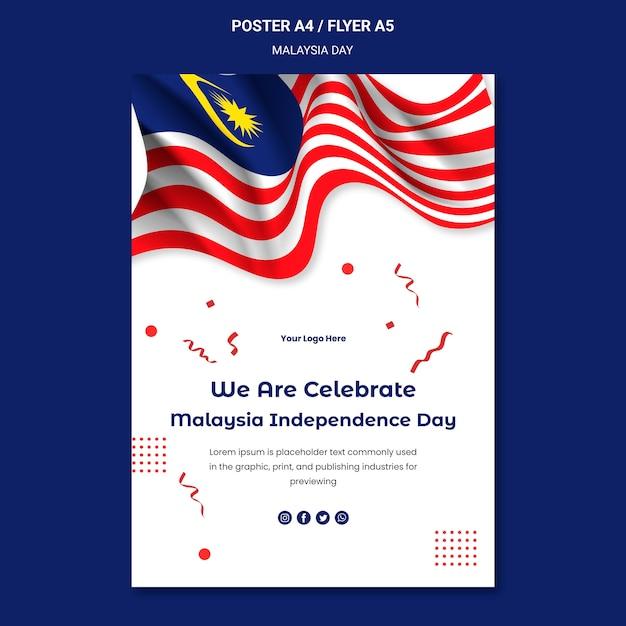 Célébrer Le Modèle De Flyer De L'indépendance De La Malaisie Psd gratuit