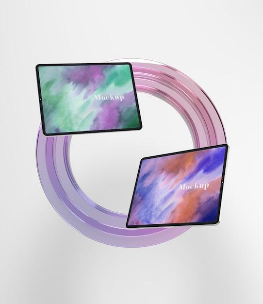 Cercle de verre transparent avec tablettes Psd gratuit