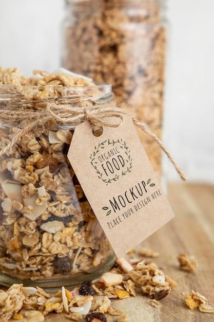 Céréales Pour Petit-déjeuner Avec Maquette D'étiquette PSD Premium