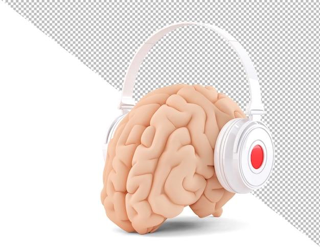 Cerveau Avec Un Casque Sur Fond Blanc Illustration 3d PSD Premium