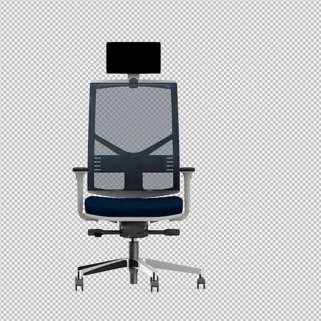 Chaise de bureau rendu 3d isolé PSD Premium