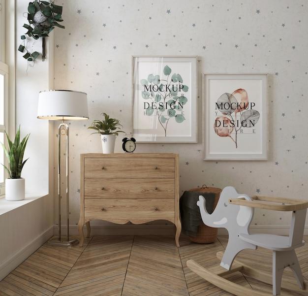Chambre Bébé Classique Avec Cadre Photo PSD Premium