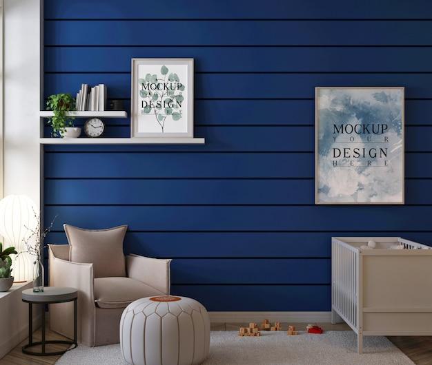Chambre Bébé Moderne Avec Cadres De Maquette PSD Premium