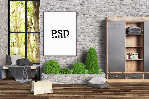 La Chambre A Un Coin Lecture Près De La Fenêtre Et Des Cadres PSD Premium