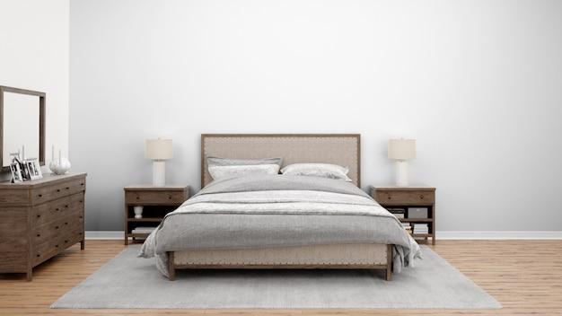 Chambre Confortable Ou Chambre D'hôtel Avec Lit Double Et Meubles En Bois Psd gratuit