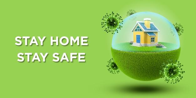 Chambre Dans Un Globe Avec Barrière Pour Prévenir Le Coronavirus Ou Covid-19 Sur Bannière Verte PSD Premium
