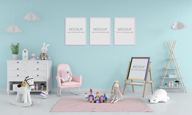 Chambre D'enfant Bleue Avec Maquette De Cadre PSD Premium