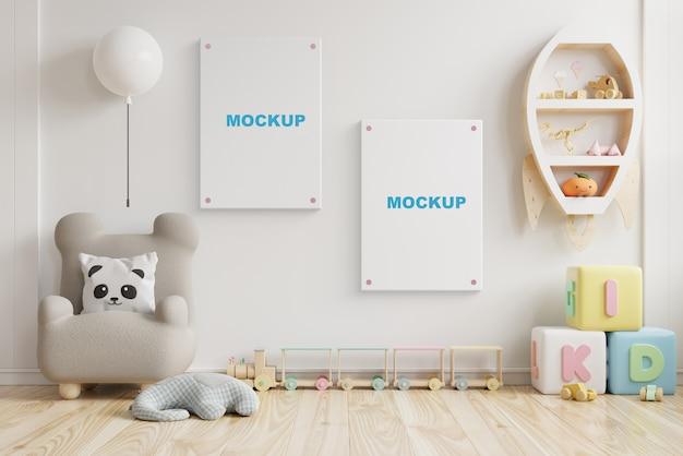 Chambre D'enfant De Maquette Intérieure, Chambre D'enfants, Maquette De Cadre Mural Rendu 3d PSD Premium