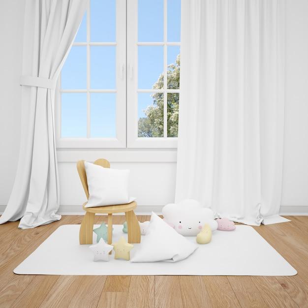 Chambre D'enfants Avec Petite Chaise Et Fenêtre Blanche Psd gratuit