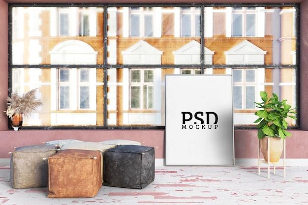 La Chambre A De Grandes Fenêtres Et Des Cadres PSD Premium