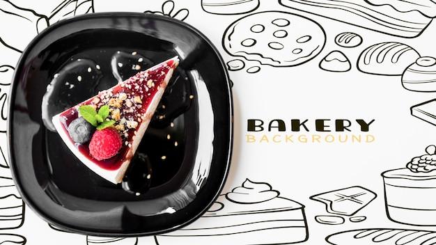 Cheesecake saupoudré d'amandes vue de dessus Psd gratuit