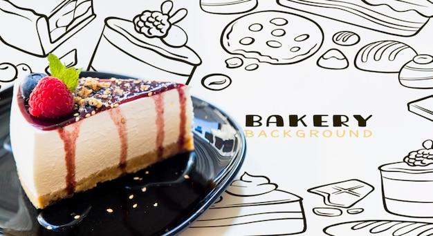 Cheesecake sirop vue de face sur une assiette Psd gratuit