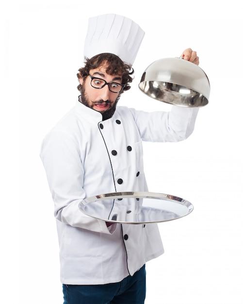 Chef avec un plateau vide Psd gratuit