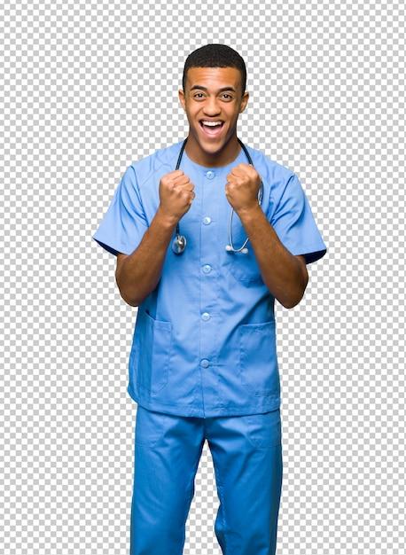 Chirurgien Médecin Célèbre Une Victoire En Position De Vainqueur PSD Premium