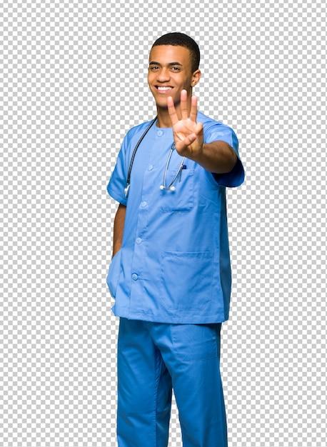 Chirurgien Médecin Homme Heureux Et Comptant Trois Avec Les Doigts PSD Premium