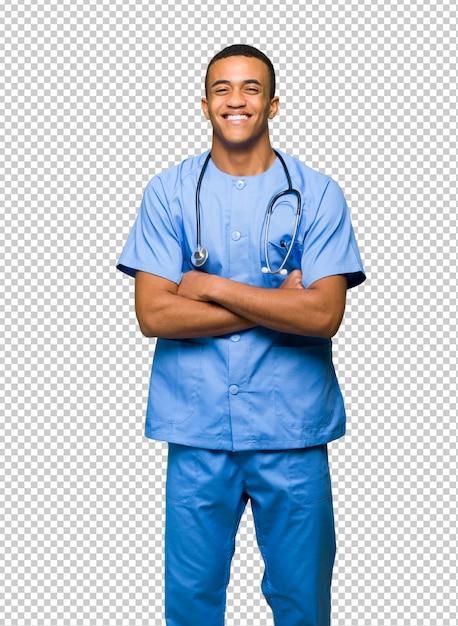 Chirurgien médecin homme heureux et souriant PSD Premium