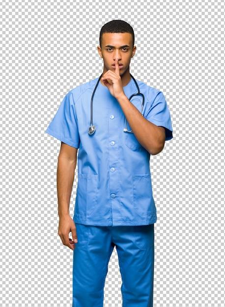 Chirurgien Médecin Homme Montrant Un Geste Du Silence Mettant Un Doigt Dans La Bouche PSD Premium