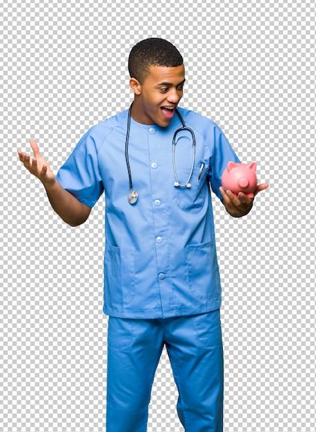 Chirurgien Médecin Homme Surpris En Tenant Une Tirelire PSD Premium