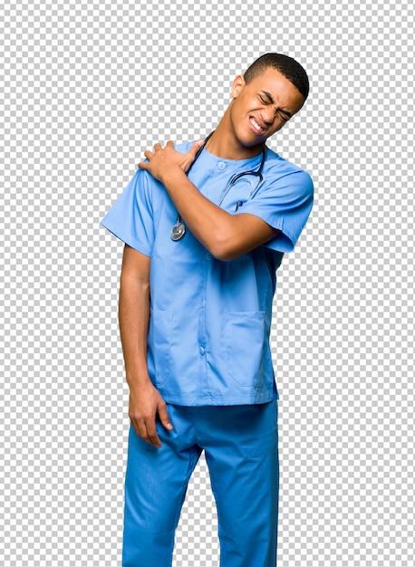Chirurgien Médecin Souffrant De Douleurs à L'épaule Pour Avoir Fait Un Effort PSD Premium