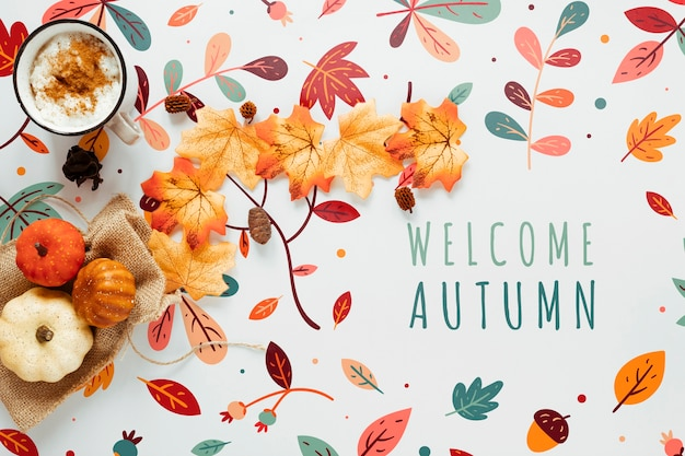 Chocolat chaud et décor de feuilles séchées Psd gratuit