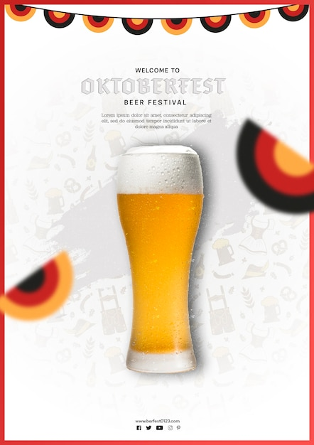 Chope De Bière Oktoberfest Avec Drapeaux Colorés Psd gratuit