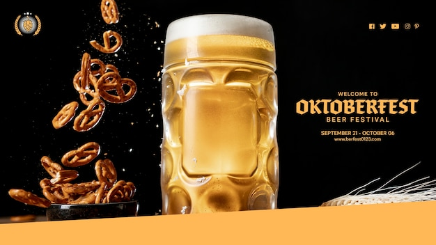 Chope De Bière Savoureuse Avec Des Bretzels En Chute Psd gratuit
