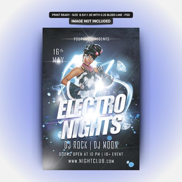 Circulaire party electro nights PSD Premium