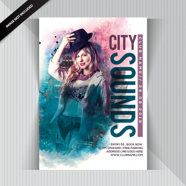 City Sounds Party Flyer PSD Premium