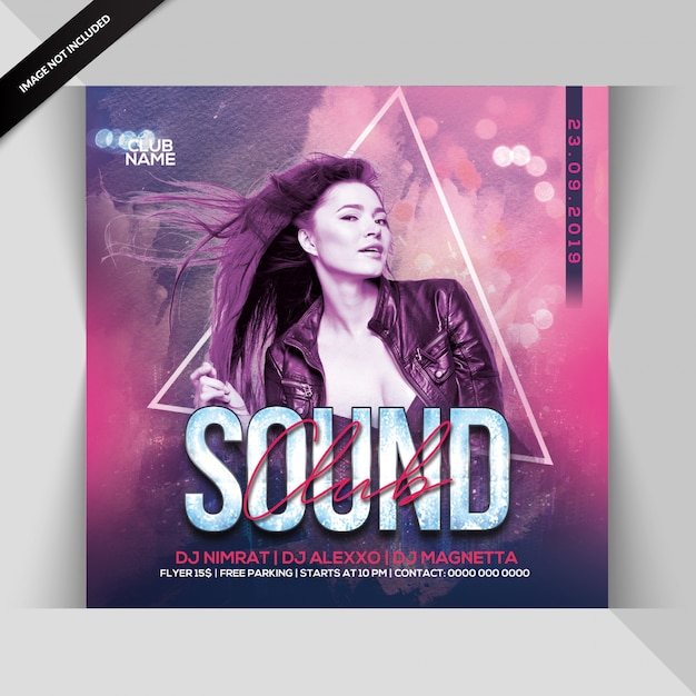 Club sound dj party flyer PSD Premium