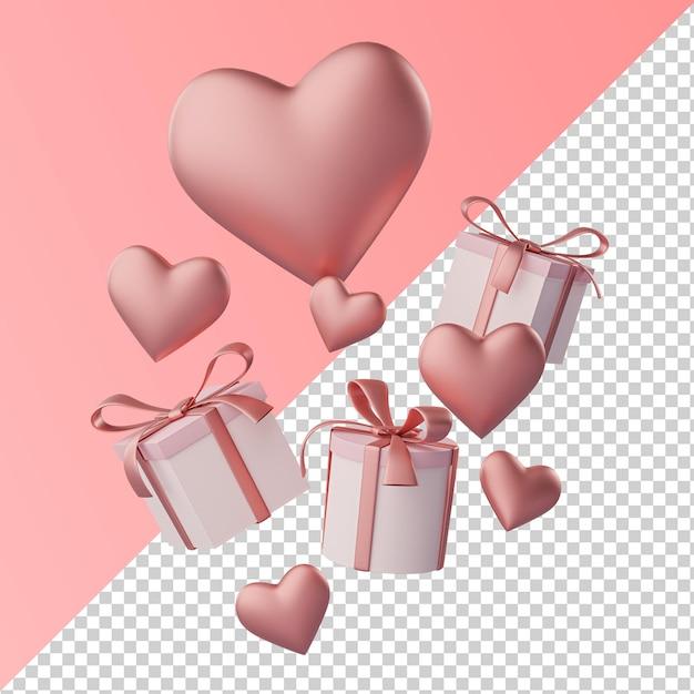 Coeur D'amour Et Boîte-cadeau Rendu 3d Transparent Isolé PSD Premium
